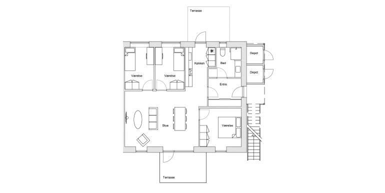 4-værelses 101-114 m2 - plantegning